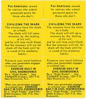 Night Raiders--Pax Americana--Civilizing the Shark--Preserve Your Moral Balance
