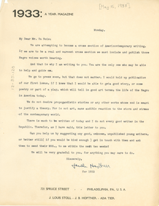 Letter from 1933: A Year Magazine to W. E. B. Du Bois