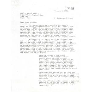 Letter, Judge Garrity, February 9, 1976.