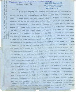 Aerogramme from George Padmore to W. E. B. Du Bois