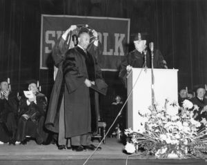 Judge Ivorey Cobb (JD '60), receives an honorary degree at the 1965 Suffolk University Law School commencement