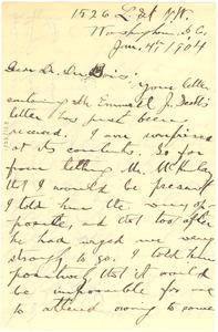 Letter from Francis J. Grimké to W. E. B. Du Bois