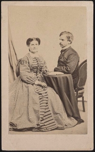 [Major General Nathaniel Prentiss Banks of General Staff U.S. Volunteers Infantry Regiment in uniform, with his wife Mary Theodosia Palmer Banks, who holds an open book]