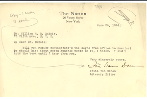 Letter from The Nation to W. E. B. Du Bois