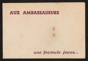 Advertisement for Roy Eldridge at Cafe des Ambassadeurs