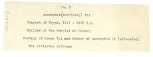 Amenophis (Amenhotep) III notecard