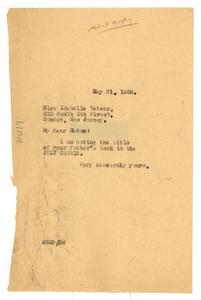 Letter from W. E. B. Du Bois to Idabelle Yeiser