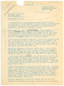 Letter from Annie Taylor to W. E. B. Du Bois