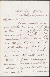 Letter from Oliver Johnson, New York, [N.Y.], to William Lloyd Garrison, 23 April, 1864