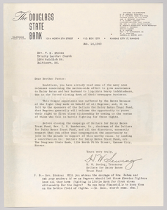 Letter from H.W. Sewing for Daisy Bates Trust Fund