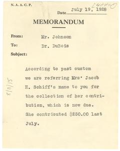 Memorandum from James Weldon Johnson to W. E. B. Du Bois