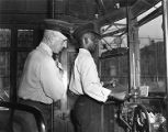 James Stewart practices operating trolley car