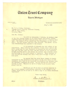 Letter from Union Trust Company to Supreme Life & Casualty Insurance Company