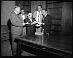 Microscope presentation to H.U. [Howard University] Med[ical] School, May 1964 [cellulose acetate photonegative]