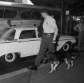 Police officer walking a dog outside the Greyhound station in Birmingham, Alabama, after the arrival of the Freedom Riders.