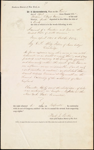 Copyright certificate for title of book, from William Lloyd Garrison, Southern District of New York, Second day of April Anno Domini 1835