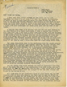 Letter from Charles Butcher to Caleb Foote and Bayard Rustin