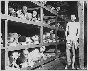"""These are slave laborers in the Buchenwald concentration camp near Jena; many had died from malnutrition when U.S. troops of the 80th Division entered the camp."""
