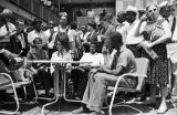 Young civil rights demonstrators speaking at a press conference at the Gaston Motel during the Children's Crusade in Birmingham, Alabama.