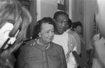 Black Family Reunion participant Dorothy Height speaking at a press conference, Los Angeles, 1987