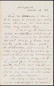 Letter from Parker Pillsbury, Springfield, to William Lloyd Garrison, March 25, 1879