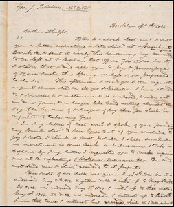 Letter from George Jeffrey Tillotson, Brooklyn, [Conn.], to Amos Augustus Phelps, 1845 Ap[ri]l 8th