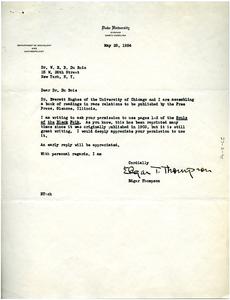Letter from Edgar Thompson to W. E. B. Du Bois
