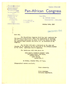 Circular letter from Pan African Congress to unidentified correspondent