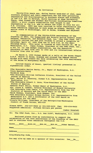 Invitation to the anniversary of the Student Nonviolent Coordinating Committee