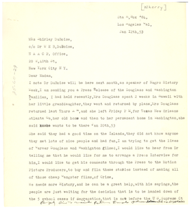 Letter from Charles Wherry to Shirley Graham Du Bois