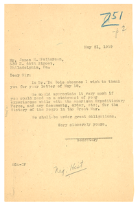 Letter from Secretary to W. E. B. Du Bois to James H. Patterson