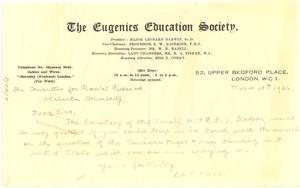 Letter from The Eugenics Education Society to Atlanta University