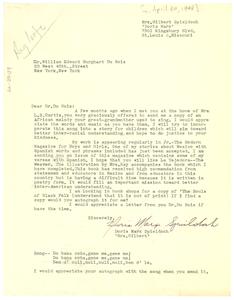 Letter from Doris Marx Spieldoch to W. E. B. Du Bois