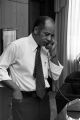 Mayor Richard Arrington talking on the telephone in his office at city hall in Birmingham, Alabama.