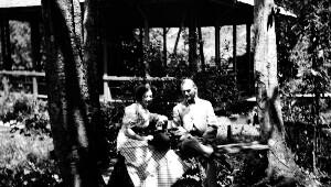 Unidentified children with dog.