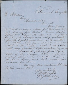 William Wright, Savannah, Ga., manuscript letter signed to Ziba B. Oakes, 24 January 1854