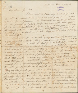 Letter from Edmund Quincy, Dedham, [Massachusetts], to William Lloyd Garrison, 1843 Nov[ember] 6