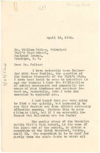 Letter from W. E. B. Du Bois to William Felter