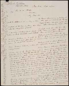 Letter from Lewis Tappan, New York, to Amos Augustus Phelps, 1844 September 30