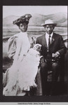 Selena McDonald Brunson and Charles E.A. Brunson holding baby Donald A. Brunson, the first African-American child born in Santa Monica, while posing for a photograph on the Santa Monica Pier in April 1907