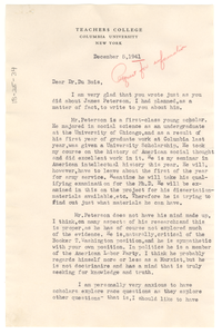 Letter from Merle Curti to W. E. B. Du Bois