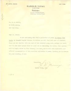 Letter from Harold Vinal, Ltd. to W. E. B. Du Bois