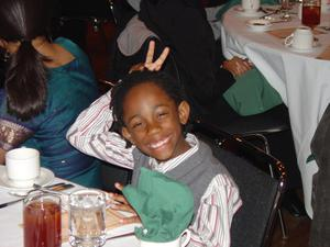 Christian Lee doing bunny-ears during BHM banquet 2006