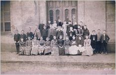 A black and white image of an unknown Massie School class from the 1880s (Principal J. E. Way)