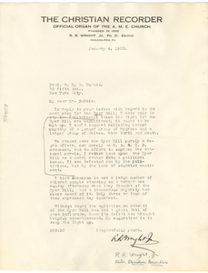 Letter from R. R. Wright, Jr. to W. E. B. Du Bois