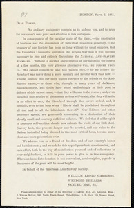 Circular from American Anti-Slavery Society, Boston, [Mass.], Sept[ember] 1, 1861