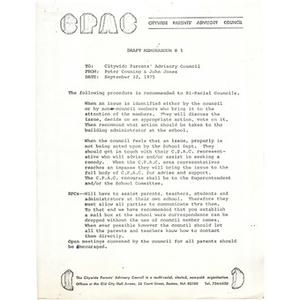 Citywide Parents' Advisory Council memo, September 22, 1975.