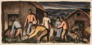 Underground Railroad (sketch for mural, Dolgeville, New York, Post Office)