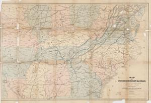 Thumbnail for Map of United States military rail roads, showing the rail roads operated during the war from 1862-1866, as military lines