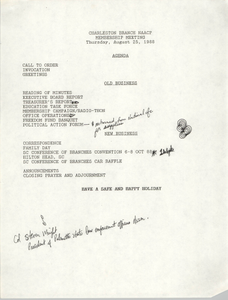 Agenda, Charleston Branch of the NAACP, August 25, 1988